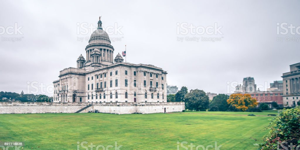 rhode island state capitol building on cloudy day stock photo