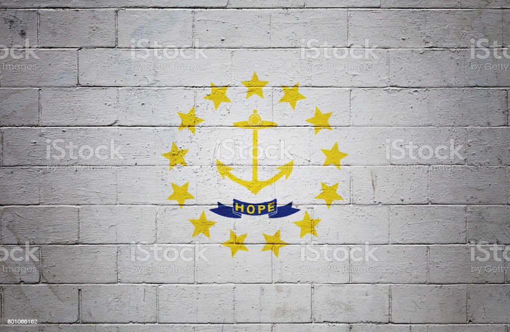 Rhode Island state flag painted on a wall stock photo