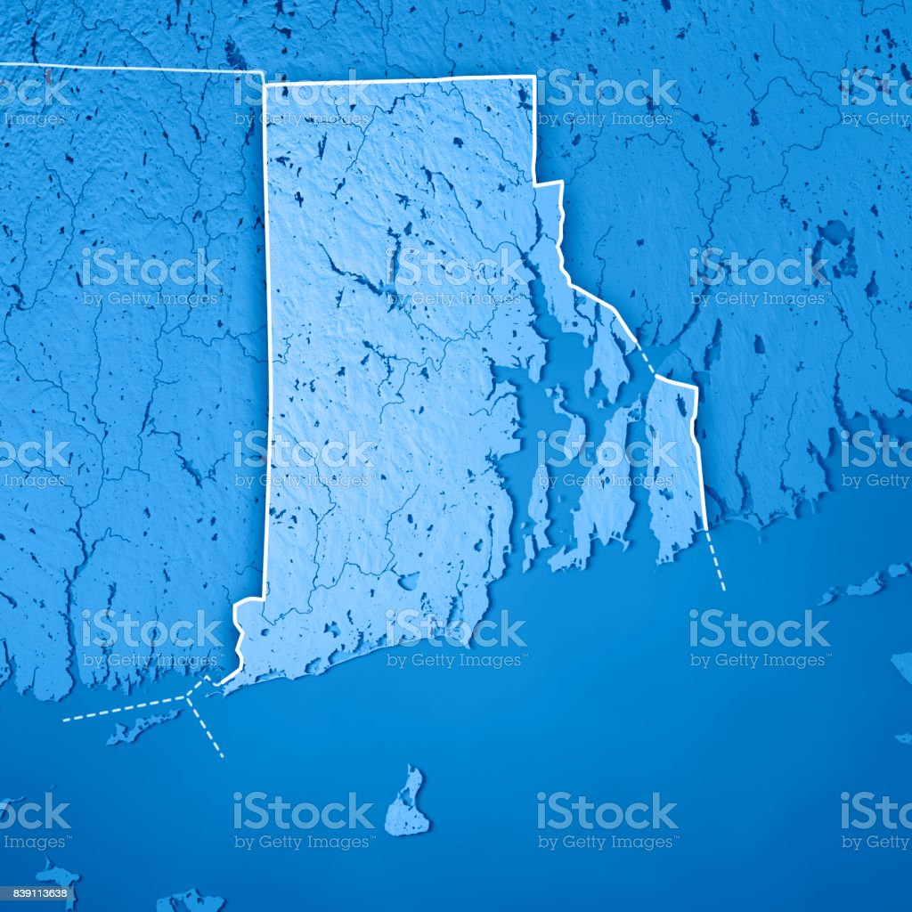 Topographic Map Rhode Island.Rhode Island State Usa 3d Render Topographic Map Blue Border Stock