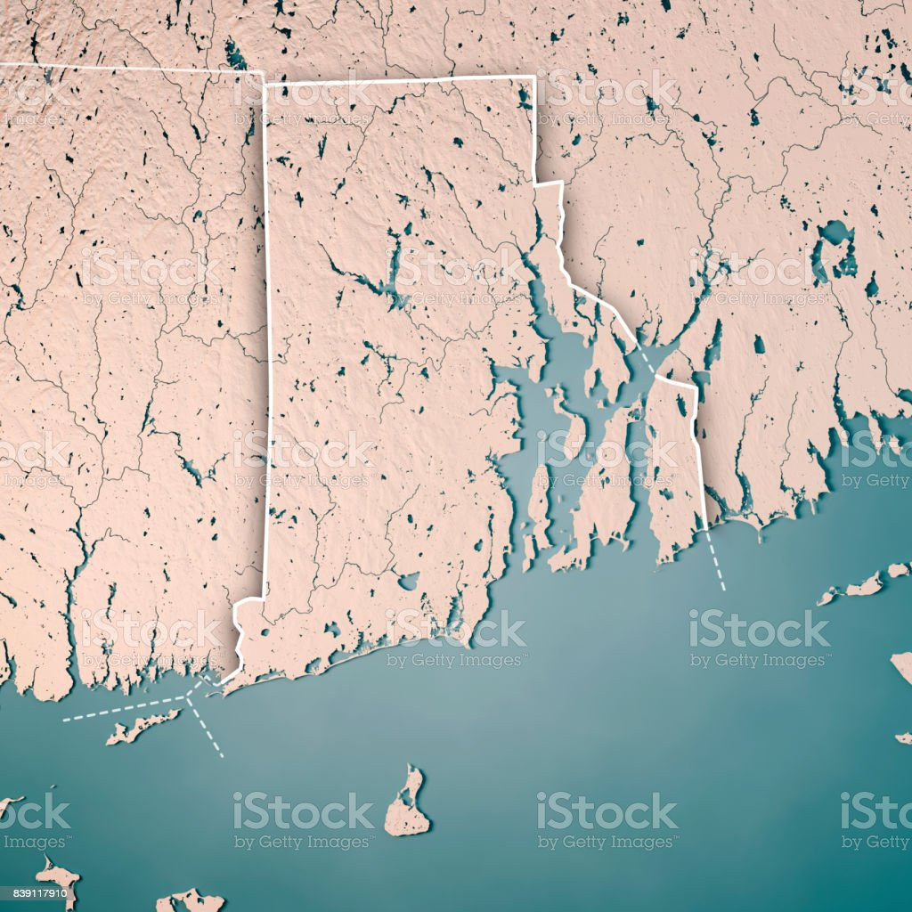 Rhode Island State Usa 3d Render Topographic Map Neutral Border ...