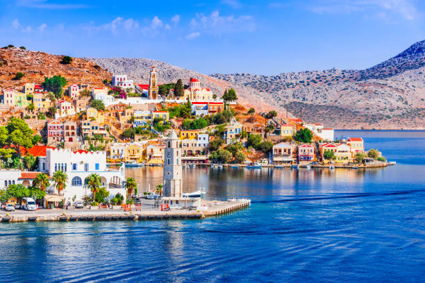 Rhodes, Greece - Colored island of Symi stock photo