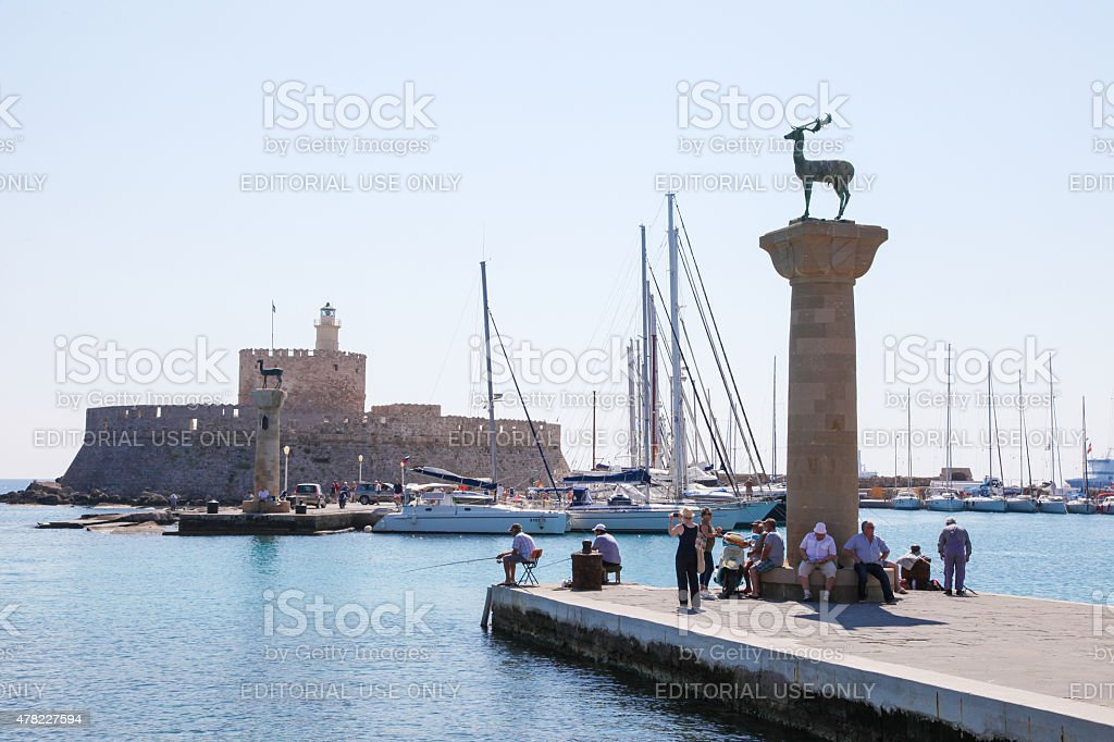 Rhodes harbour, Dodecanese, Greece stock photo
