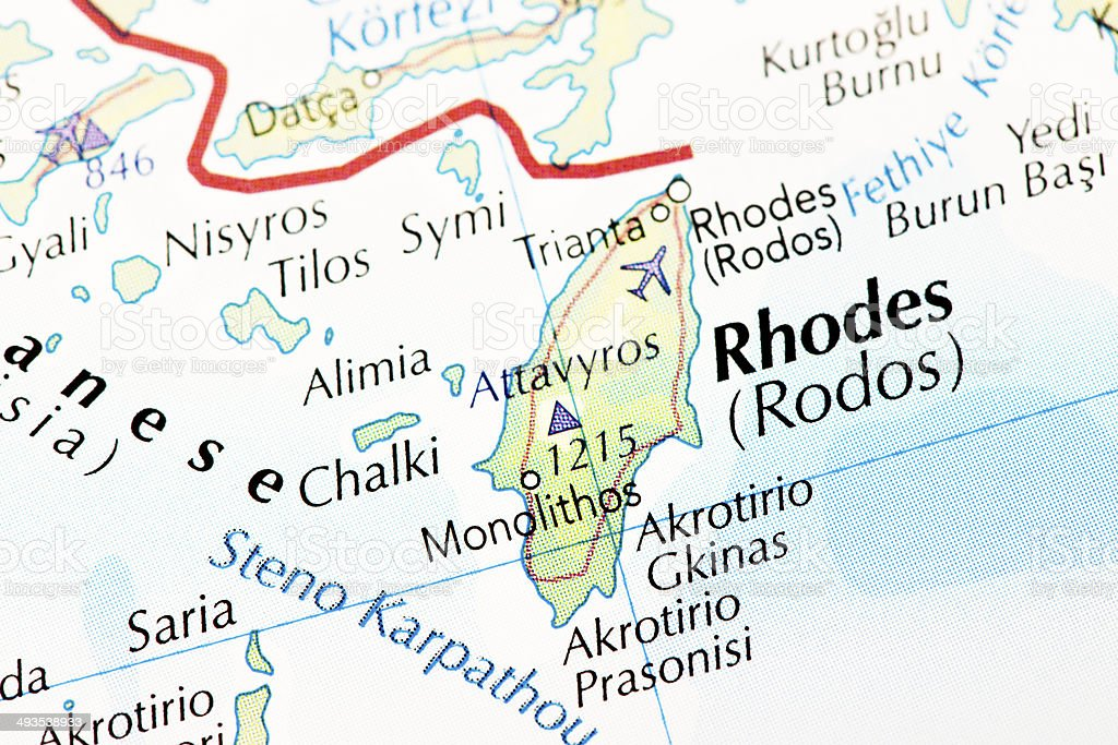 Rhodes Island Map royalty-free stock photo