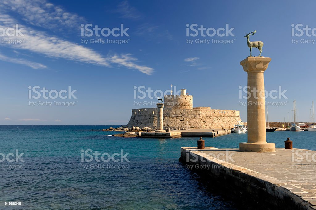 Rhodes Landmark Mandraki Port stock photo