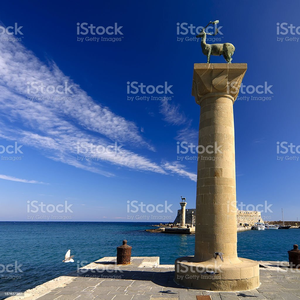Rhodes Mandraki Port Entry stock photo