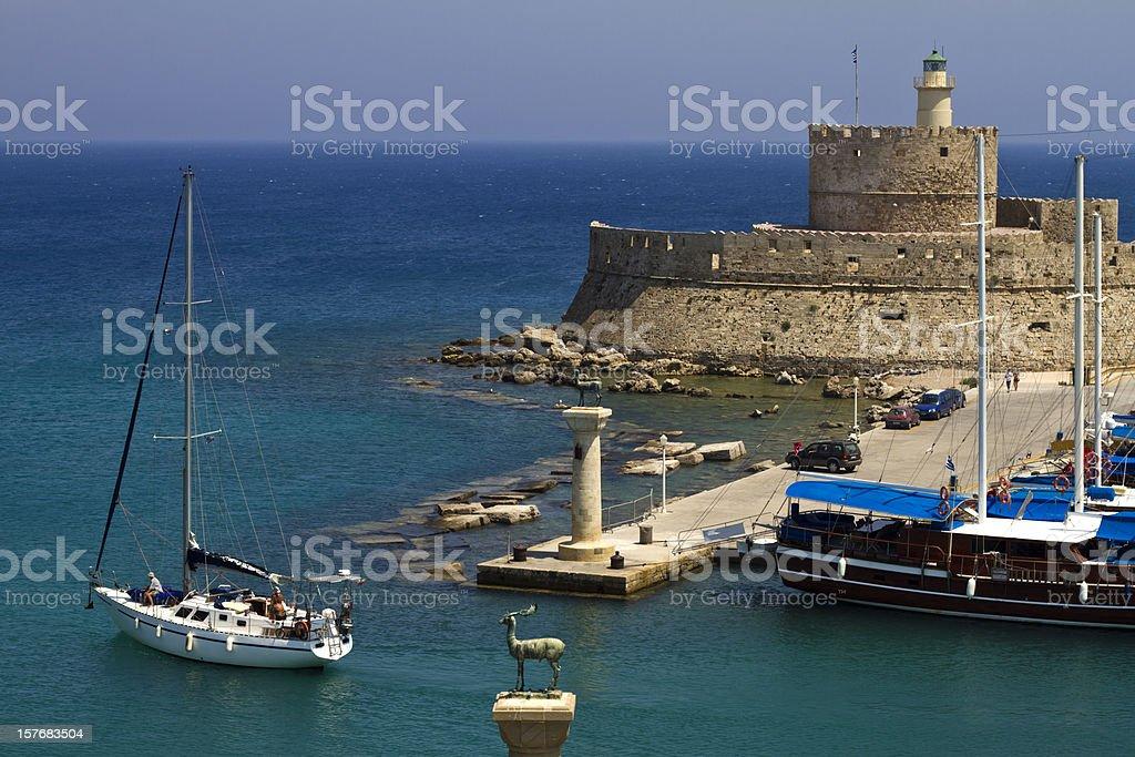 Rhodes Mandraki Port Entry stock photo
