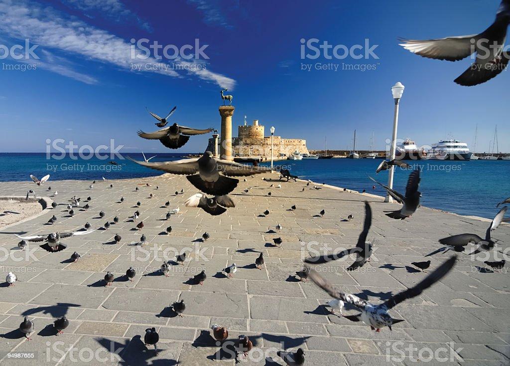 Rhodes Mandraki Port royalty-free stock photo