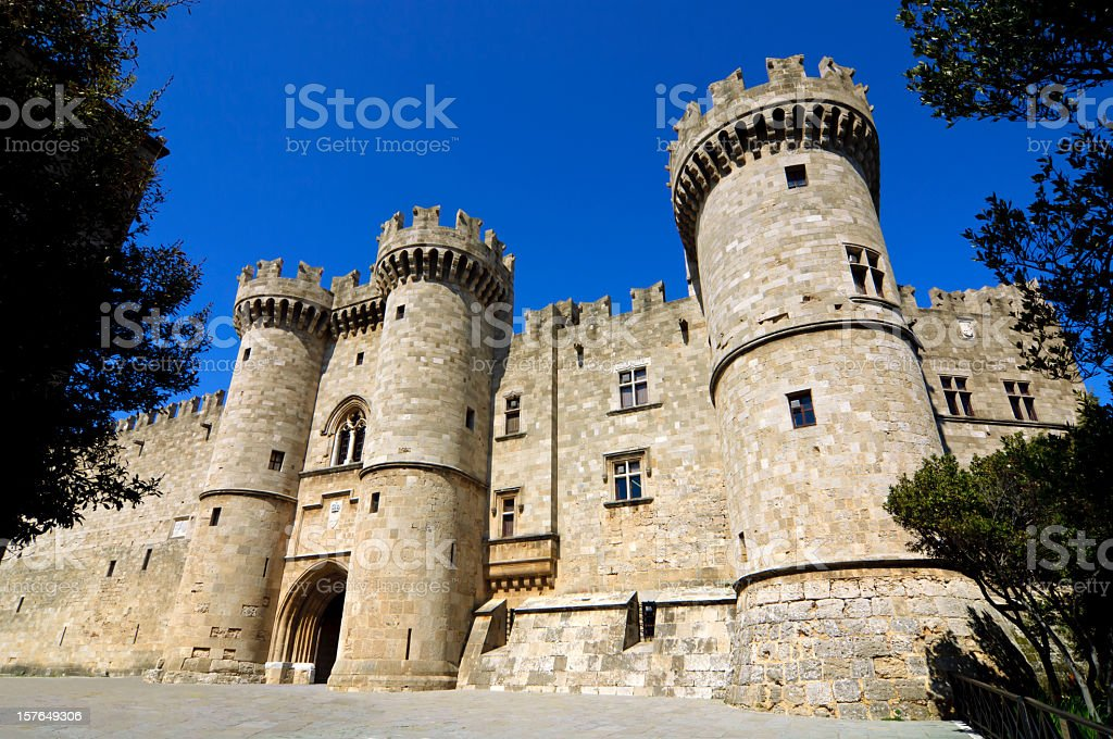 Rhodes Medieval Knights Castle / Palace stock photo