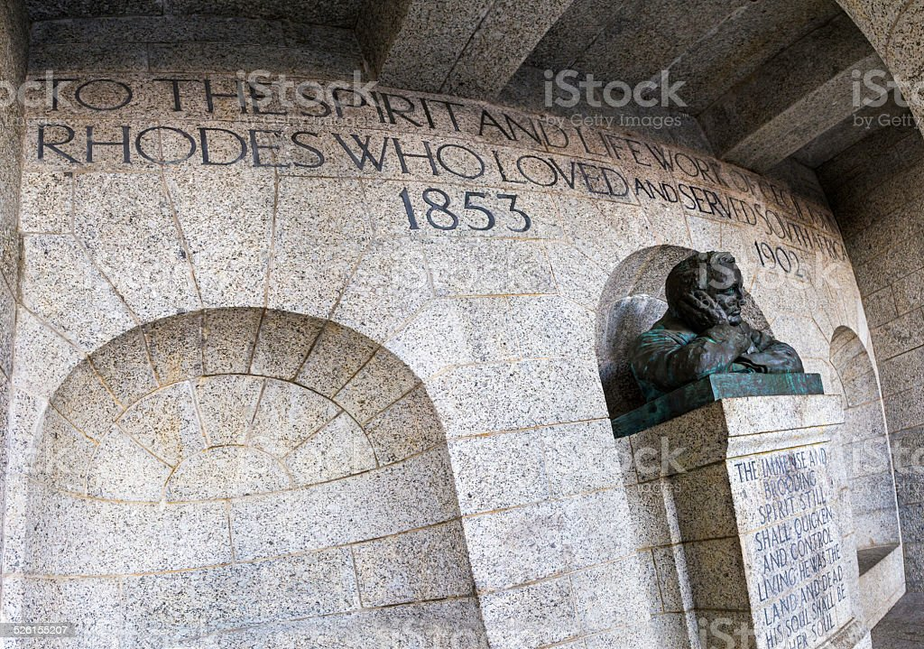 Rhodes memorial and inscription monumnent in Cape Town stock photo