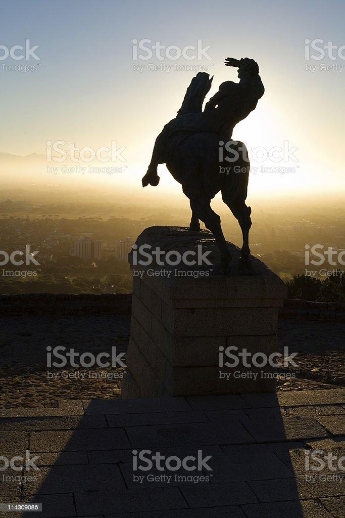 Rhodes Memorial detail, Cape Town. Horseman shielding eyes from sun stock photo