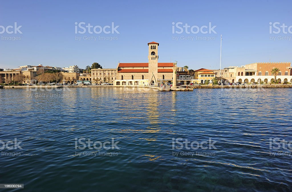 Rhodes town stock photo