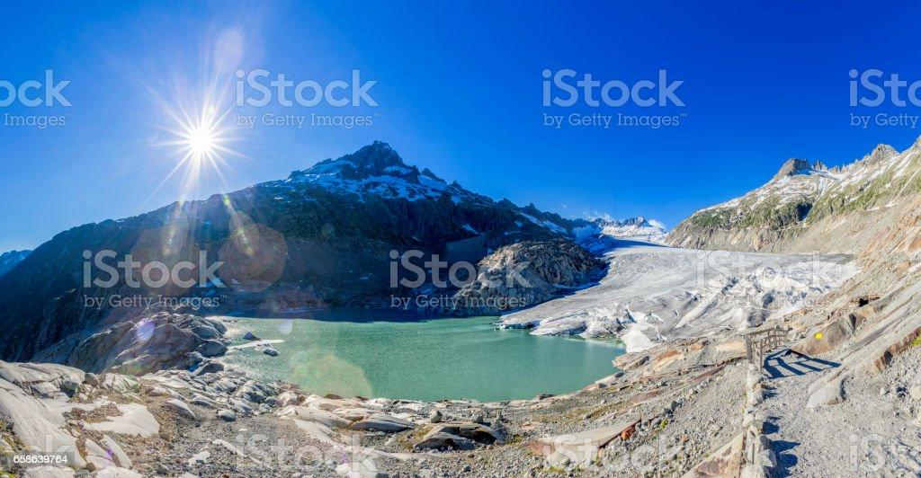 Rhone Glacier Panorama, Switzerland stock photo