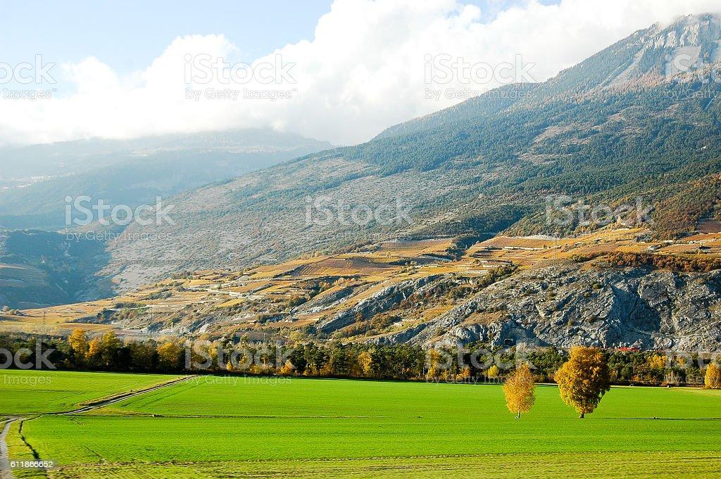 Rhone Valley at Sunset, Switzerland stock photo