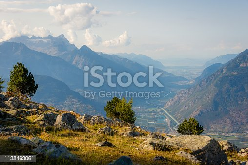 Sunset in the mountains above the Rhone valley in the west of Switzerland.