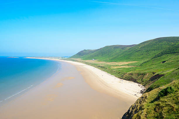 Rhossili Bay Rhossili Bay Beach, Gower Peninsula, Wales.  south wales stock pictures, royalty-free photos & images