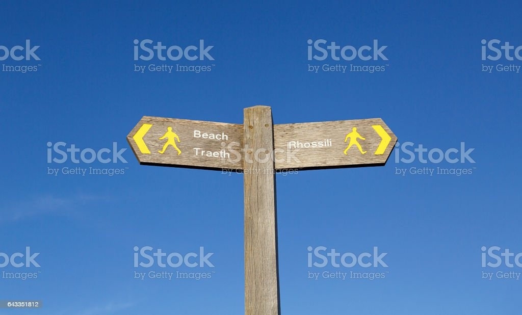 Rhossili Bay - Sign Post stock photo
