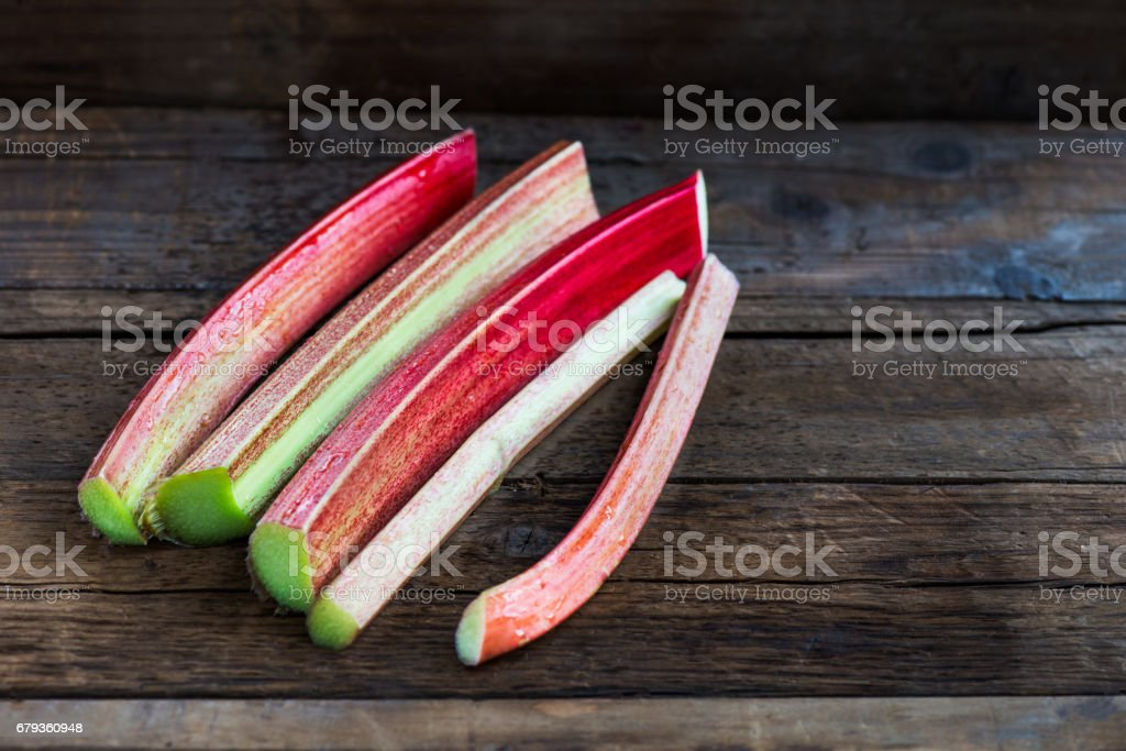 Rhubarb and Strawberries royalty-free stock photo