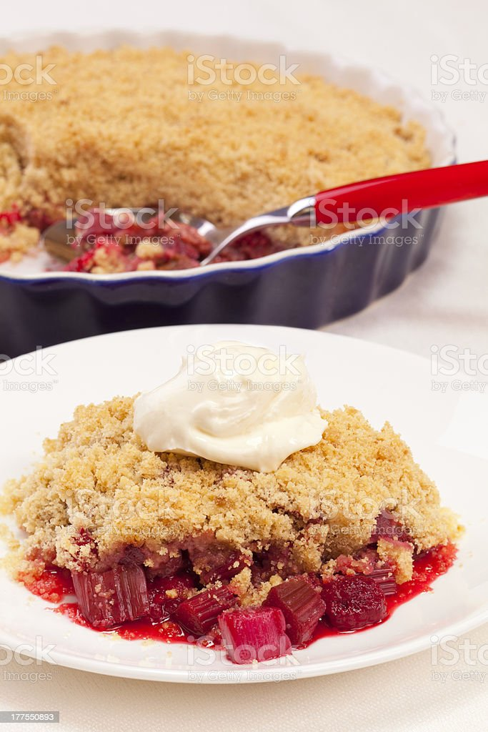 Rhubarb Crumble with Raspberry stock photo