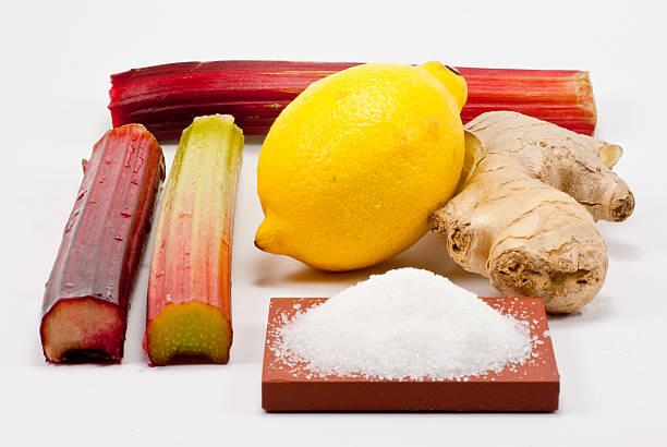 rhabarber, limonen und ingwer - ingwermarmelade stock-fotos und bilder