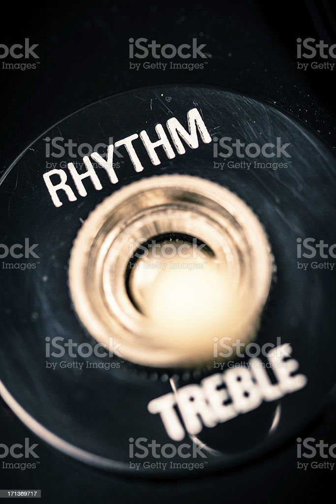 Rhythm and Treble Control on Electric Guitar stock photo