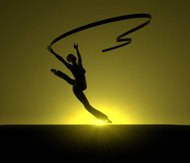 Rhythmic Gymnast at Sunset stock photo