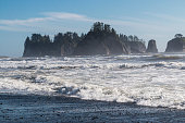 Landscape view of islands in the Pacific Ocean at Rialto Beach in Olympic National Park (Washington).