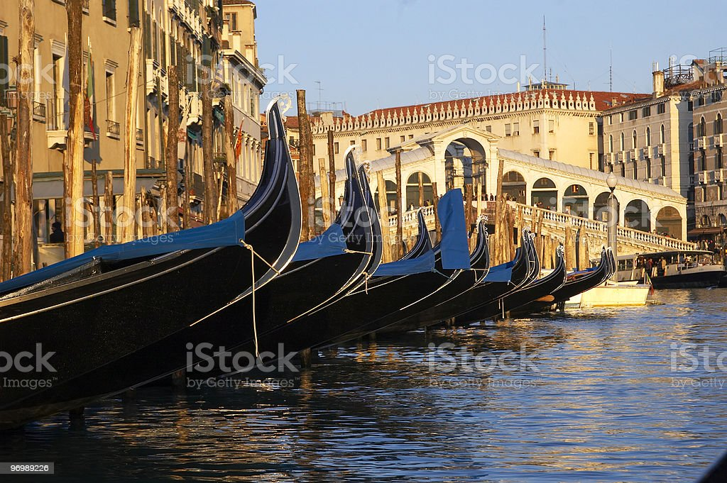 Rialto Bridge and Canale Grande in Venice royalty-free stock photo