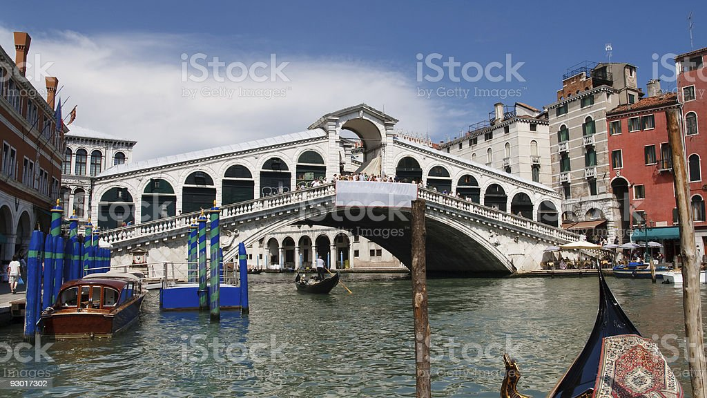 Rialto Bridge and Grand Canal, Venice, Italy stock photo
