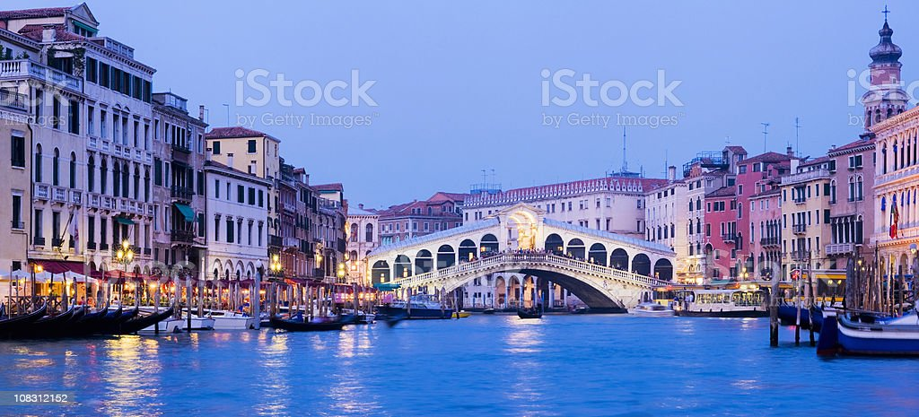 Rialto Bridge and the Grand Canal in Venice Italy royalty-free stock photo