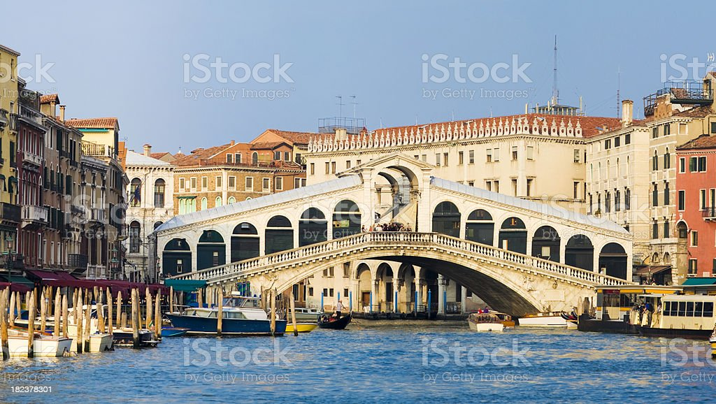 Rialto Bridge and the Grand Canal in Venice Italy stock photo