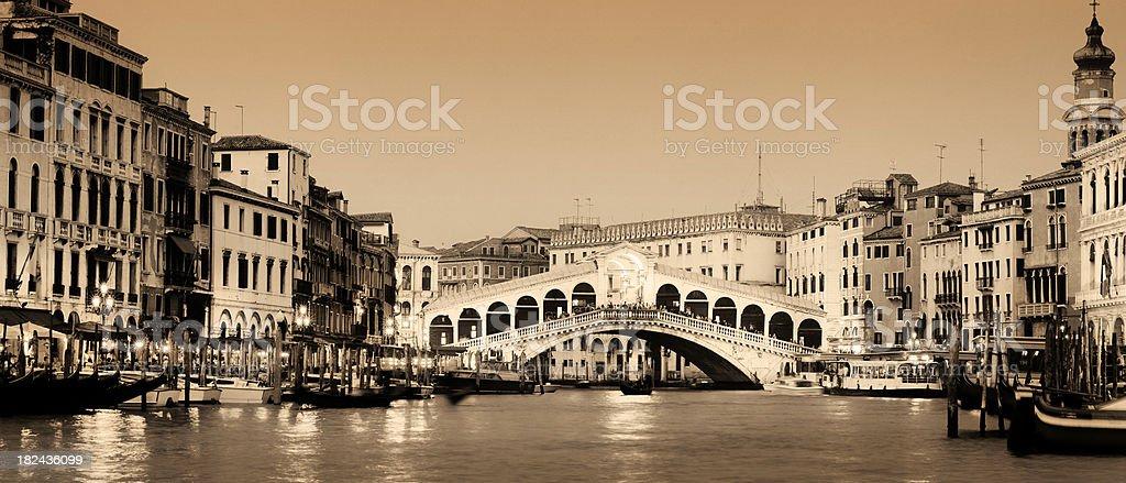 Rialto Bridge and the Grand Canal in Venice Italy royalty-free stock photo