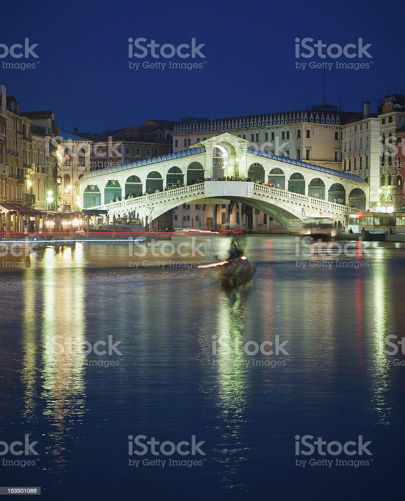 Rialto bridge at night, Venice, Italy royalty-free stock photo