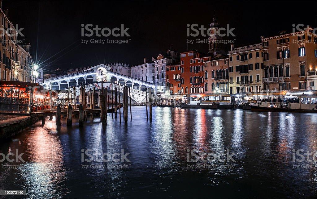 Rialto bridge by night royalty-free stock photo