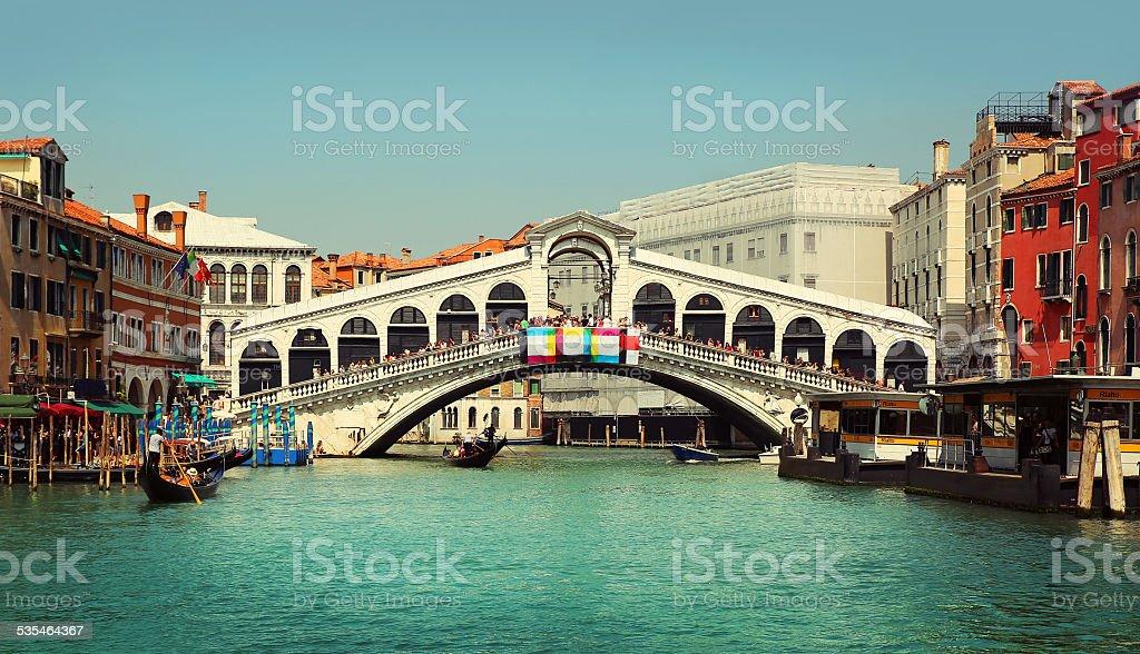 Rialto Bridge. Grand Canal in Venice stock photo