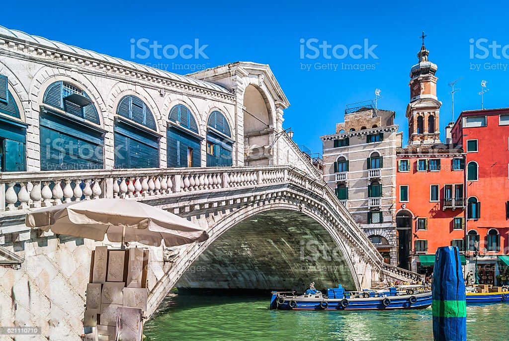 Rialto Bridge landmark Italy. stock photo