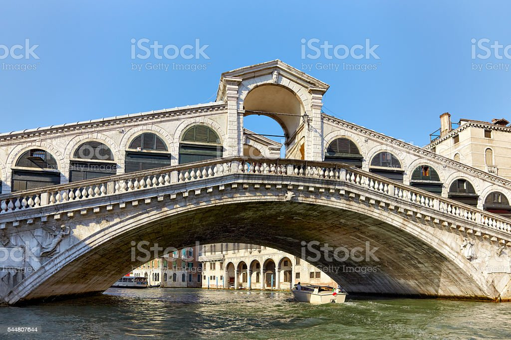 Rialto Bridge on Canal Grande in Venice stock photo