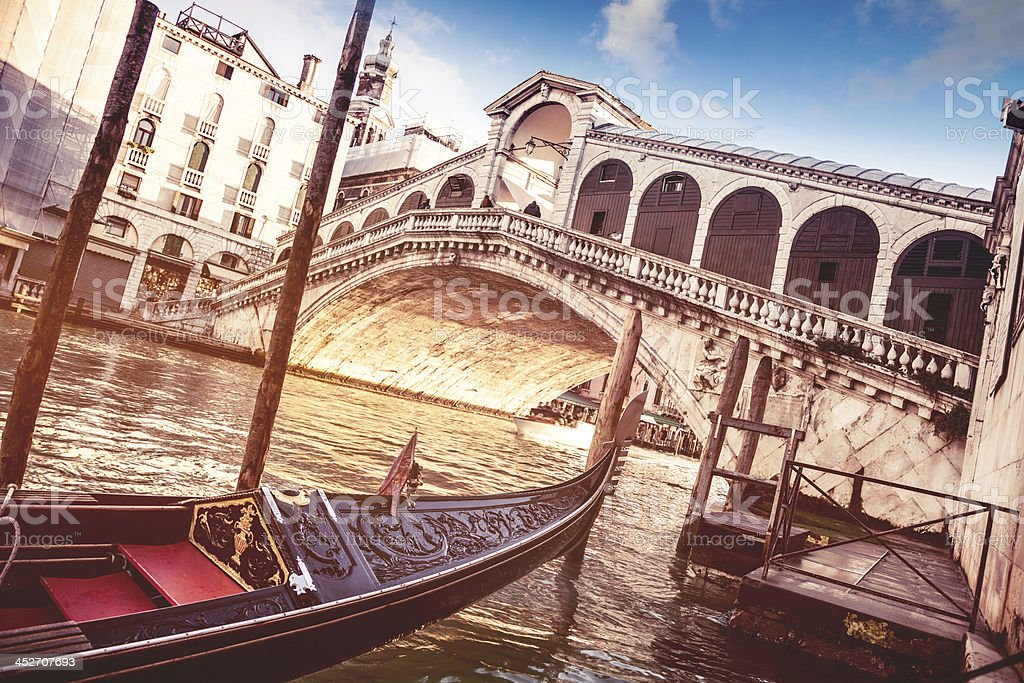 Rialto Bridge on the Grand Canal - Venice stock photo