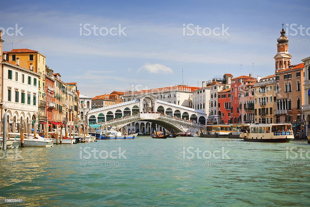 Rialto Bridge over Grand canal in Venice stock photo