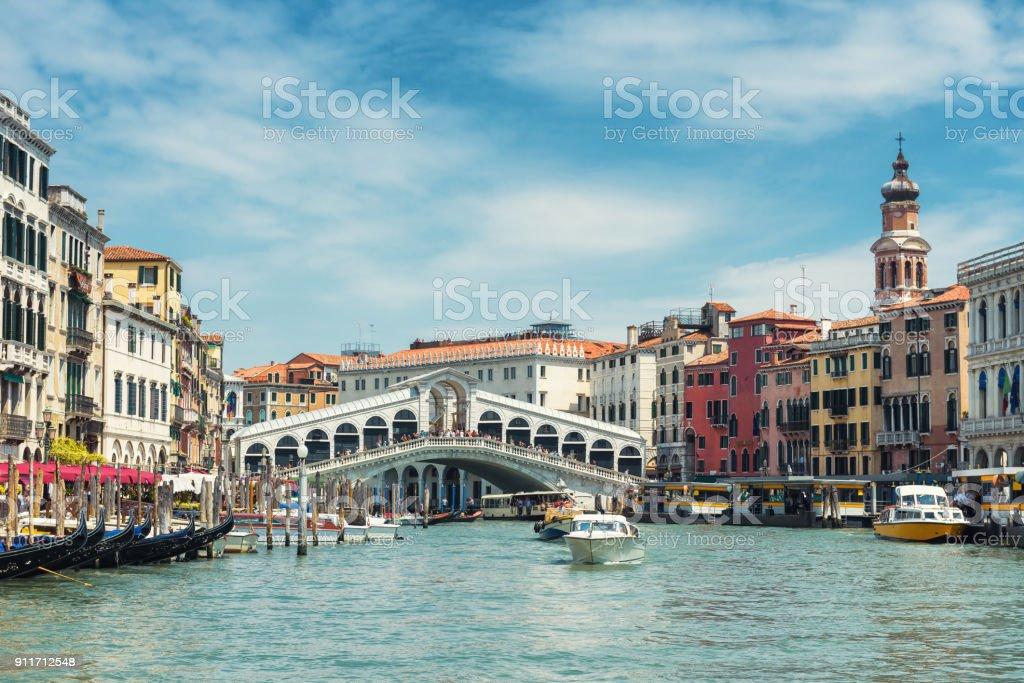 Rialto Bridge over the Grand Canal in Venice, Italy stock photo