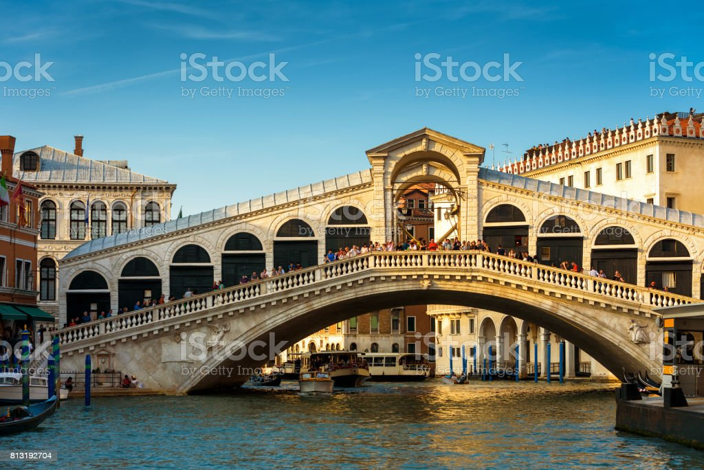 Rialto Bridge over the Grand Canal in Venice stock photo