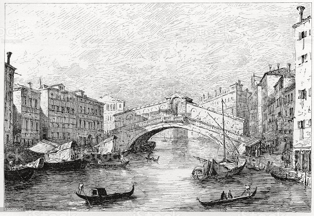 Rialto Bridge, Venice, Engraving royalty-free stock photo