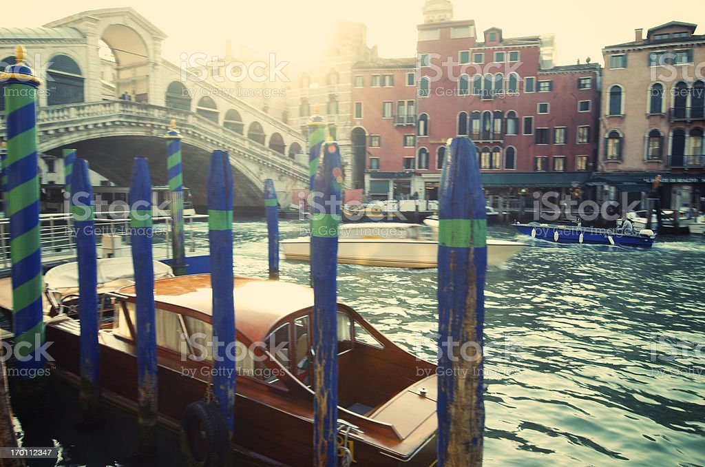 Rialto Bridge Venice Italy Golden Sunrise Grand Canal stock photo