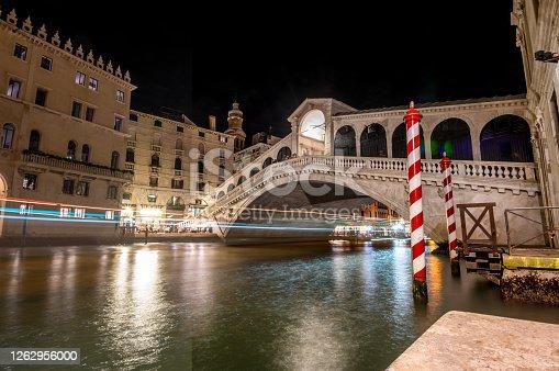 Rialto Bridge at nigh, Venice, Italy