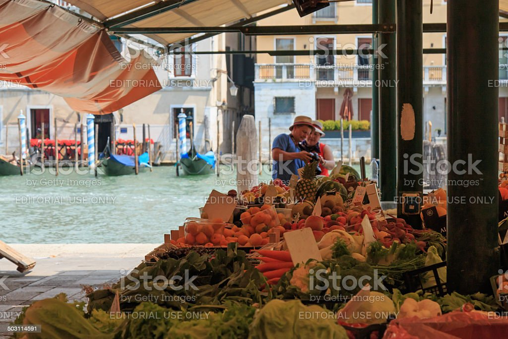 Rialto market of Venice. stock photo