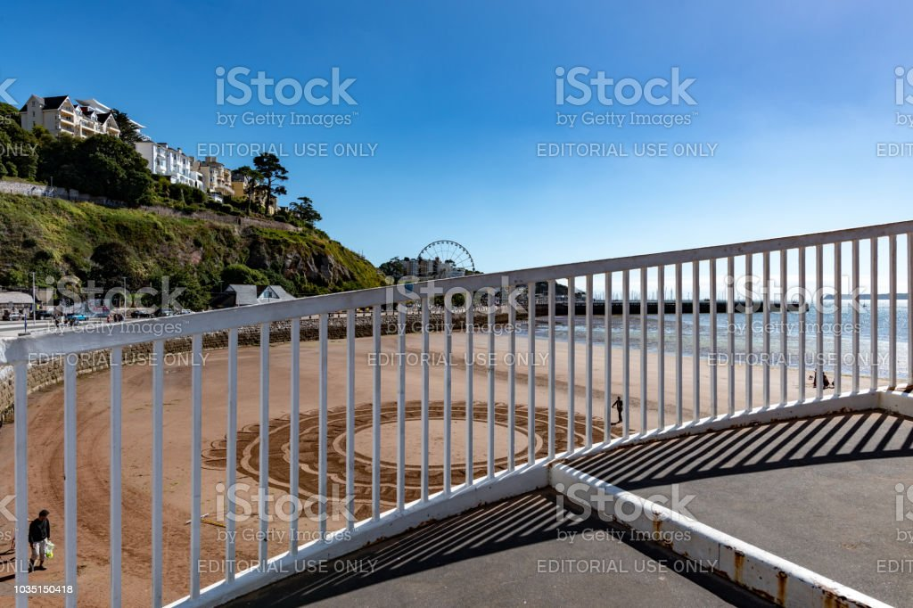 Riased walkway over the beach in Torquay, Devon stock photo