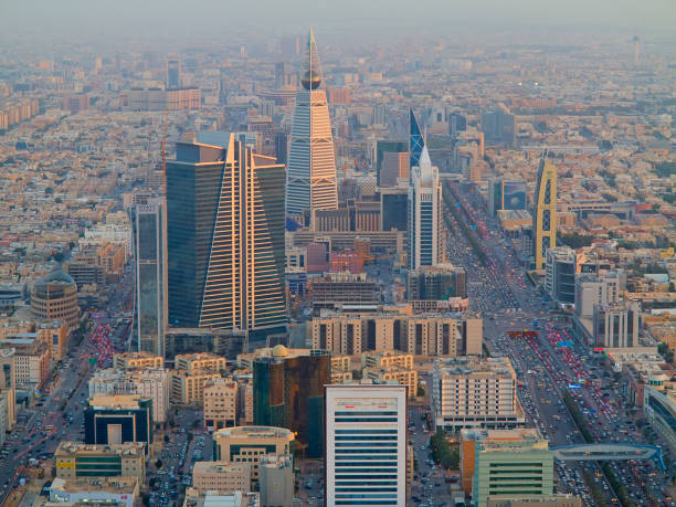 Riaydh RIYADH - FEBRUARY 29: Aerial view of Riyadh downtown on February 29, 2016 in Riyadh, Saudi Arabia. saudi arabia stock pictures, royalty-free photos & images