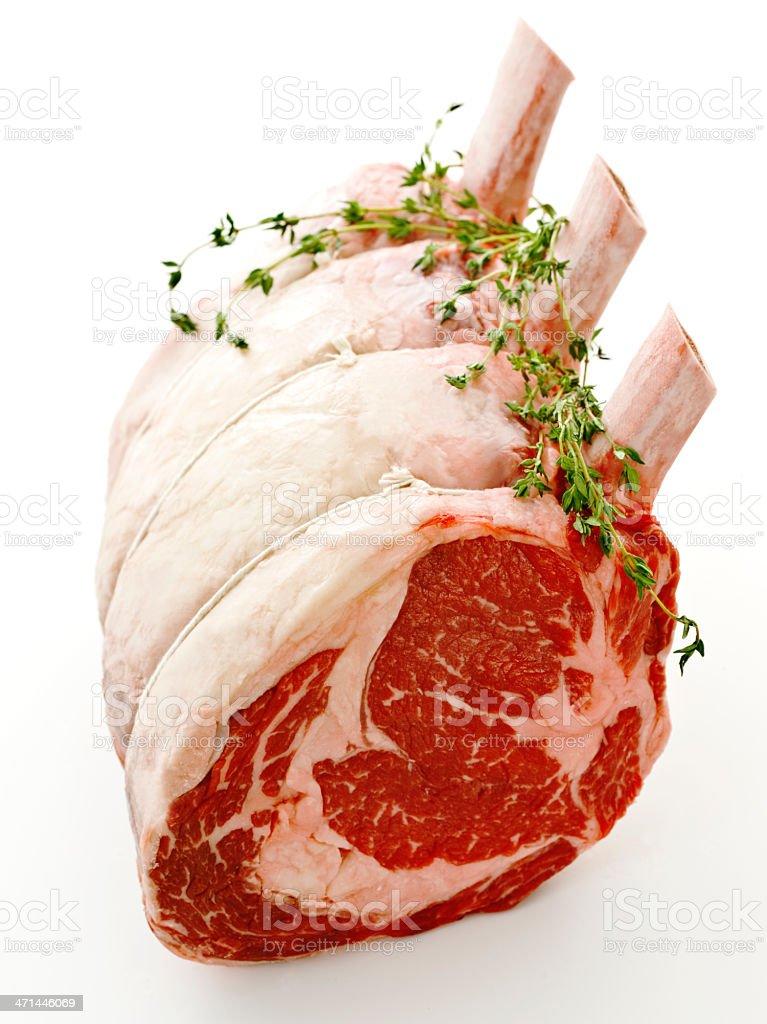 rib roast 'frenched' stock photo