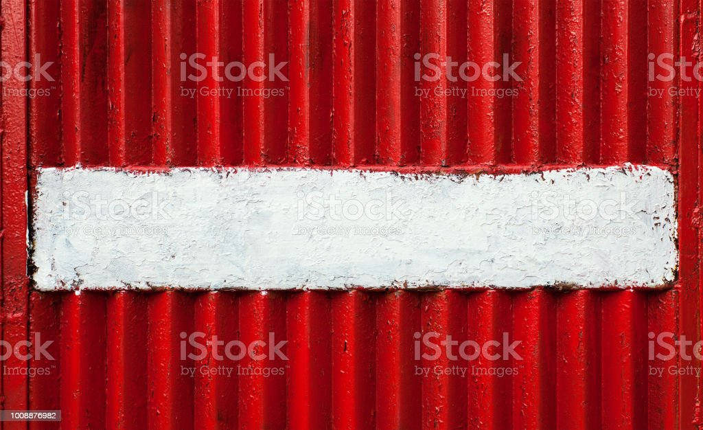 Ribbed Red Metal Texture With White Surface stock photo