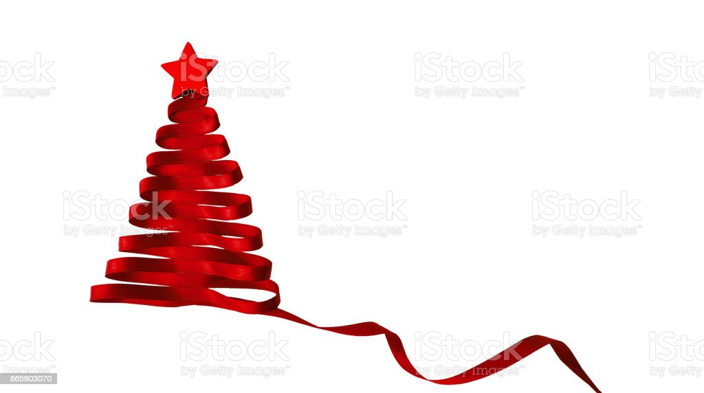 Ribbion christmas tree stock photo