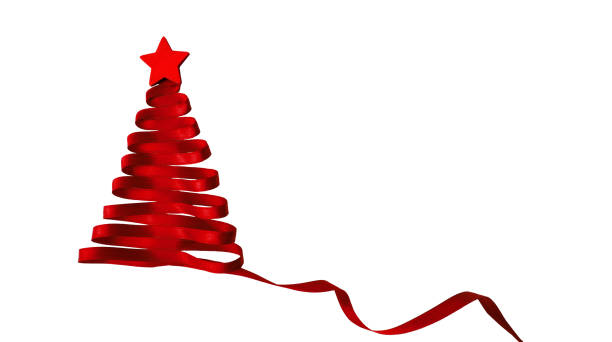 ribbion christmas tree - abstract logo stock photos and pictures